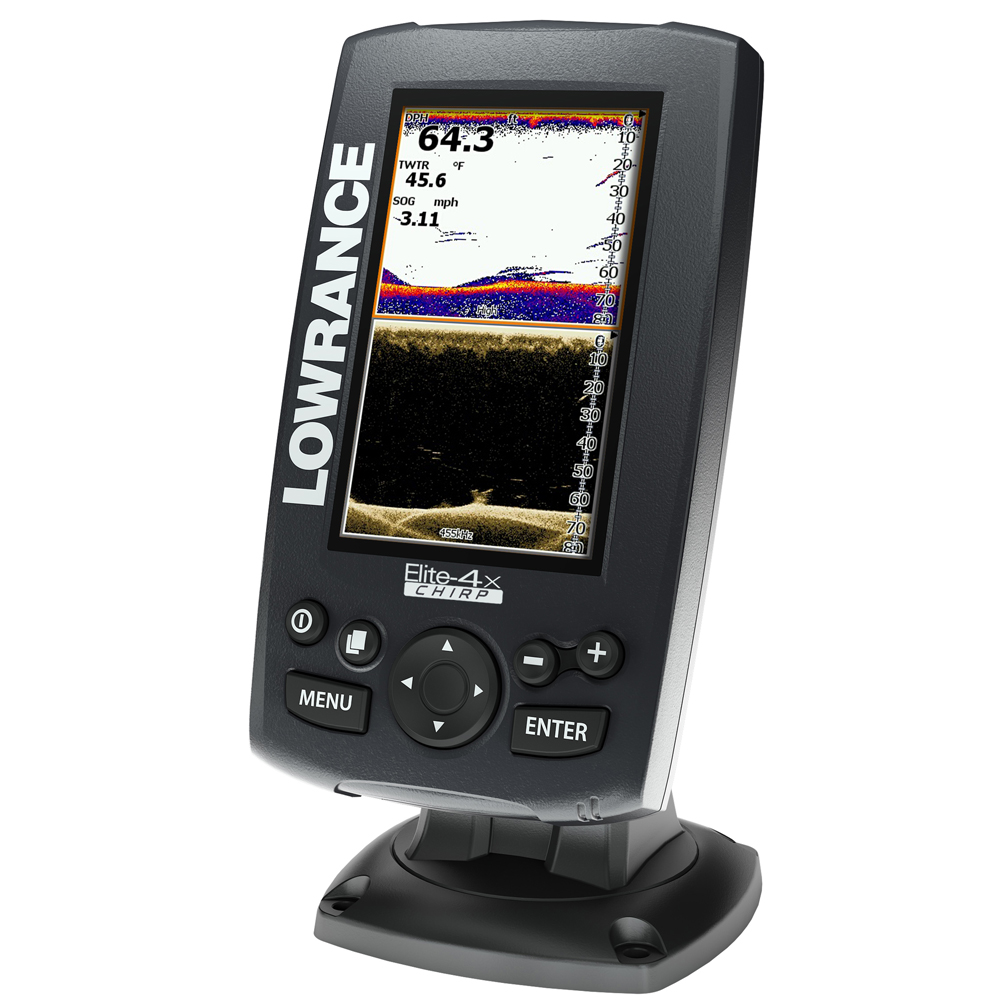 lowrance lowrance elite 4x chirp fishfinder with 83 200 455 800 transom mount transducer 11 54465. Black Bedroom Furniture Sets. Home Design Ideas
