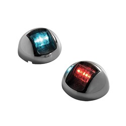 Attwood 3500 Series 2-Mile LED Vertical Mount, Bi-Color Red/Green Combo Sidelight- Pair - 12V - Stainless Steel Housing