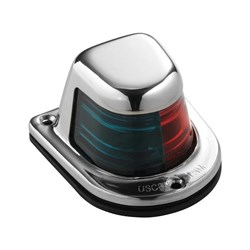 Attwood 1-Mile Deck Mount, Bi-Color Red/Green Combo Sidelight - 12V - Stainless Steel Housing