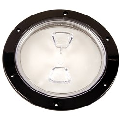 "Beckson  6"" Clear Center Screw-Out Deck Plate - Black"