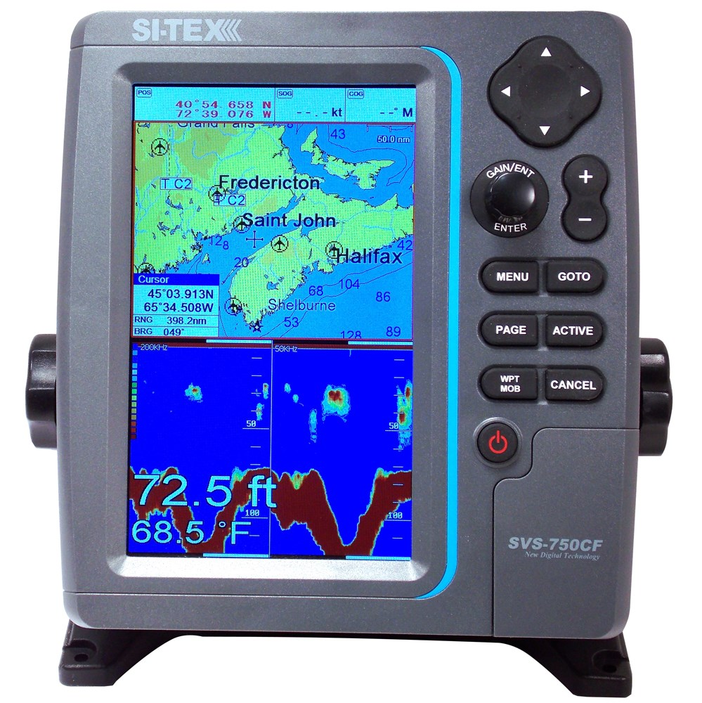 Si Tex Svs 750cf Gps Chartplotter Color Echo Sounder With C Sitex Transducer Wiring Diagram Colors Map Max Na M022 Sd Chart 600w 11 47089