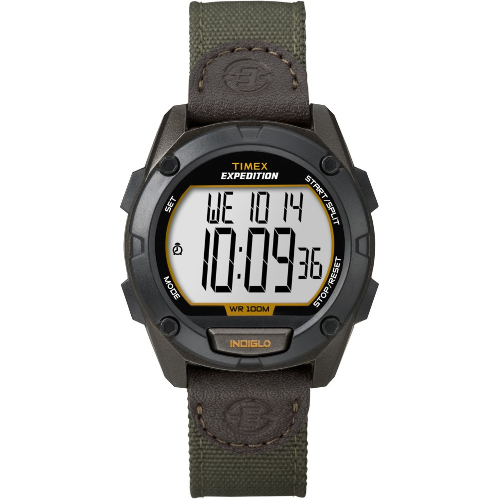 e8eed0d2d Timex - Timex Expedition Full Pusher CAT Digital Watch - Black Dial/Green Fabric  Strap #11-49659