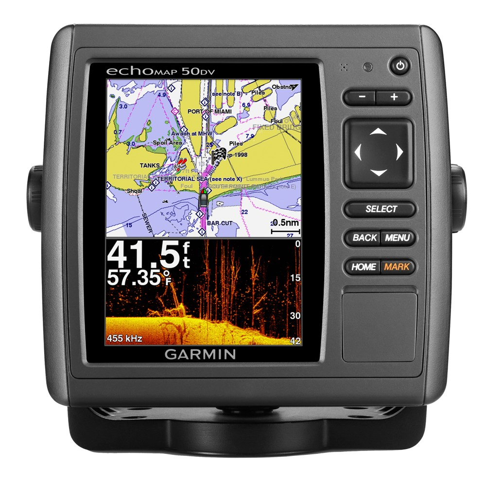 "Garmin echoMAP™ 50dv Fishfinder/Chartplotter Combo w/5"" VGA Display, TM Transducer & Worldwide Basemap"