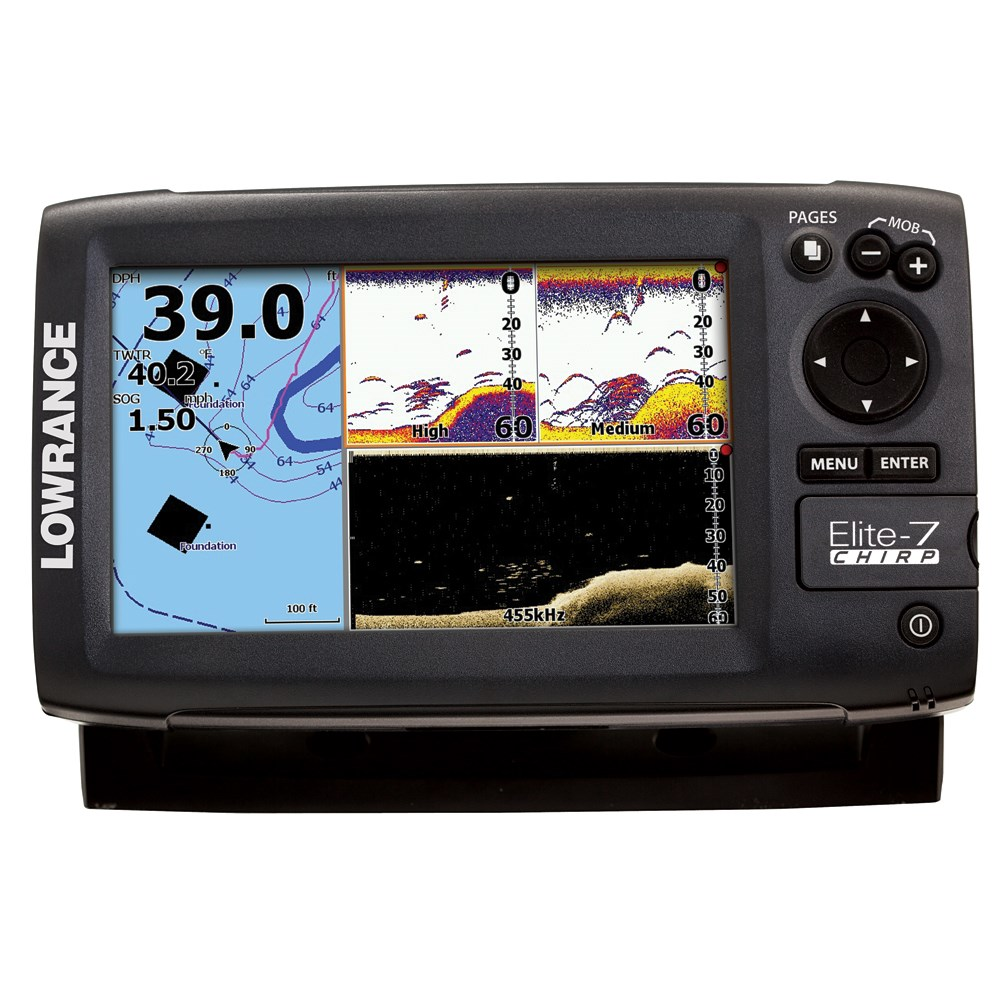 Lowrance - Lowrance Elite-7 Chirp Fishfinder  Chartplotter Gold Combo  200   455  800 Transom