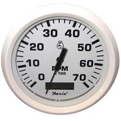 "Faria Dress White 4"" Tachometer w/Hourmeter - 7,000 RPM (Gas - Outboard)"
