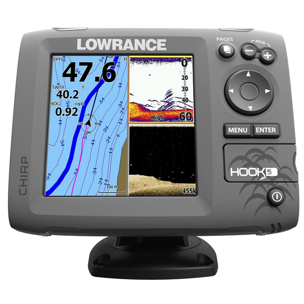 Lowrance lowrance hook 5 fishfinder chartplotter combo w for Lowrance fish finder gps