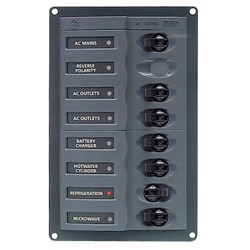 BEP AC Circuit Breaker Panel w/o Meters, RV 6Way AC Panel w/Double Pole Mains, Black