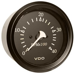 "VDO Allentare Black 4000RPM 3-3/8"" (85mm) Diesel Tachometer (Alternator) - 12V - Black Bezel"