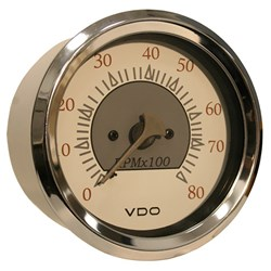 "VDO Allentare White/Grey 8000RPM 3-3/8"" (85mm) Outboard Tachometer - 12V"