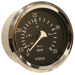 "VDO Allentare Black 35MPH 3-3/8"" (85mm) Pitot Speedometer - Chrome Bezel"