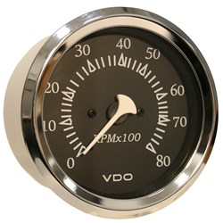 "VDO Allentare Black 8000RPM 3-3/8"" (85mm) Outboard Tachometer - 12V - Chrome Bezel"
