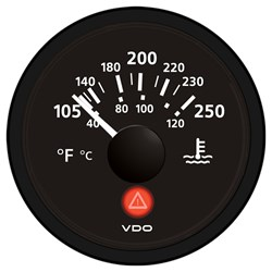 VDO Viewline Onyx 250°F/120°C Water Temperature Gauge 12/24V - Use with VDO Sender