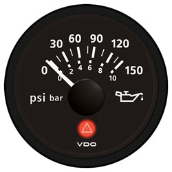 VDO Viewline Onyx 150 PSI/10 Bar Oil Pressure Gauge 12/24V - Use with VDO Sender