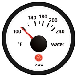 VDO Viewline Ivory 240°F Water Temperature Gauge 12/24V - Use with US Sender