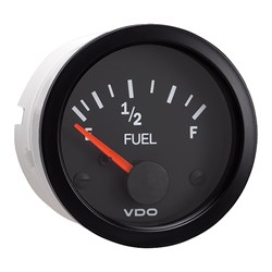 VDO Vision Black Fuel Gauge - Use with 240-33 Ohm Sender - 12V