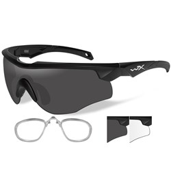 Wiley X Rogue Sunglasses - Smoke Grey/Clear Lens - Matte Black Frame w/Rx Insert
