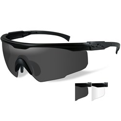 Wiley X PT-1 Sunglasses - Smoke Grey/Clear Lens - Matte Black Frame