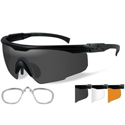 Wiley X PT-1 Sunglasses - Smoke Grey/Clear/Rust Lens - Matte Black Frame w/Rx Insert