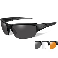 Wiley X Saint Sunglasses - Smoke Grey/Clear/Rust Lens - Matte Black Frame