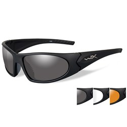 Wiley X Romer 3 Sunglasses - Smoke Grey/Clear/Rust Lens - Matte Black Frame