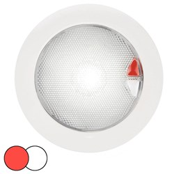 Hella Marine EuroLED 150 Recessed Surface Mount Touch Lamp - Red/White LED - White Plastic Rim