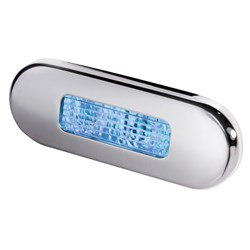 Hella Marine Surface Mount Oblong LED Courtesy Lamp - Blue LED - Stainless Steel Bezel