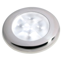 Hella Marine Slim Line LED Enhanced Brightness Round Courtesy Lamp - White LED - Stainless Steel Bezel - 12V