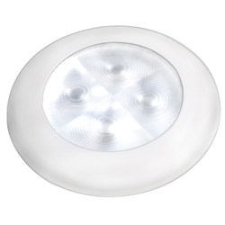 Hella Marine Slim Line LED Enhanced Brightness Round Courtesy Lamp - White LED - White Plastic Bezel - 12V