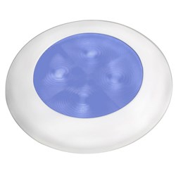 Hella Marine Slim Line LED Enhanced Brightness Round Courtesy Lamp - Blue LED - White Plastic Bezel - 12V