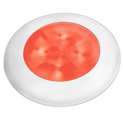 Hella Marine Slim Line LED Enhanced Brightness Round Courtesy Lamp - Red LED - White Plastic Bezel - 12V
