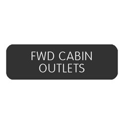 "Blue Sea Large Format Label - ""FWD Cabin Outlets"""