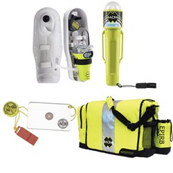 ACR EPIRB Safety Kit #1 - w/GlobalFix V4 Cat I, RapidDitch Bag, C-Strobe, & HotShot Mirror & Whistle