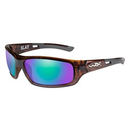 Wiley X Slay Sunglasses - Polarized Emerald Green Mirror Lens - Gloss Demi Frame