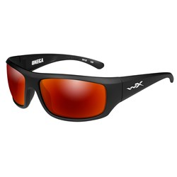 Wiley X Omega Sunglasses - Polarized Crimson Mirror Lens - Matte Black Frame