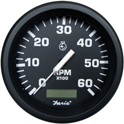 "Faria 4"" HD Tachometer w/Hourmeter (6000 RPM) - Gas - Black"