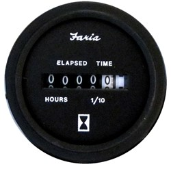 "Faria Heavy-Duty 2"" Hourmeter (10,000 Hours) (12-32 VDC) - Black"