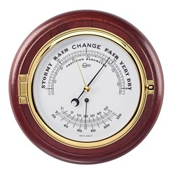 "BARIGO Analog Barometer/Thermometer 6"" Dial Brass & Mahogany Captain Series - Spiral Thermometer"