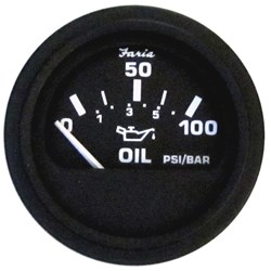 "Faria Heavy-Duty 2"" Oil Pressure Gauge (80 PSI) - Black"