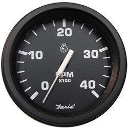 "Faria 4"" Heavy-Duty Tachometer (4000 RPM) (Diesel) Mag Pick-Up - Black w/Black Bezel"