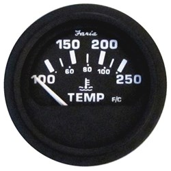 "Faria 2"" Heavy-Duty Water Temperature Gauge (100-250F) - Black *Bulk Case of 24*"