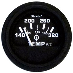 "Faria 2"" Heavy-Duty Oil/Temp Gauge (140-320 F/C) - Black"