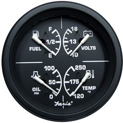 "Faria 4"" Heavy-Duty Multi-Function Gauge (Fuel, Oil (PSI) Water Temp & Voltmeter) - Black *Bulk Case of 12*"