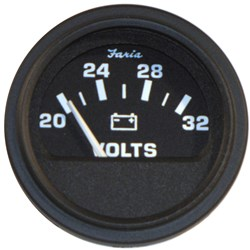 "Faria 2"" Heavy-Duty Voltmeter (14-32 VDC) - Black *Bulk Case of 24*"