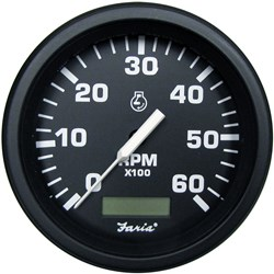 "Faria 4"" Heavy-Duty Tachometer w/Hourmeter (6000 RPM) Gas - Black *Bulk Case of 12*"