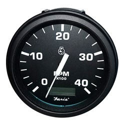 "Faria 4"" Heavy-Duty Tachometer w/Hourmeter (4000 RPM) Diesel (Mech Takeoff & Var Ratio Alt) - Black *Bulk Case of 12*"