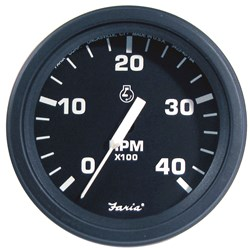 "Faria 4"" Heavy-Duty Tachometer (4000 RPM) Diesel (Mech Takeoff & Var Ratio Alt) - Black *Bulk Case of 12*"