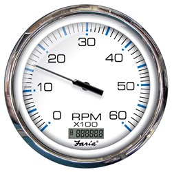 "Faria 5"" Tachometer w/Digital Hourmeter (6000 RPM) Gas (Inboard) Chesapeake White w/Stainless Steel"