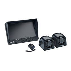 "VDO 7"" Quad Display w/2 Black Side Mount Cameras & 1 Black Rear View Mini Camera w/Parking Guide Lines"