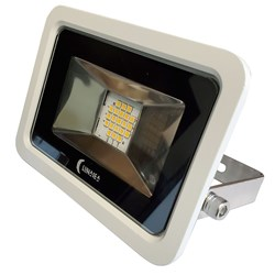 Lunasea 10W Slimline LED Floodlight, 120VAC Only, Cool White, 1200 Lumens, 3' Cord - White Housing