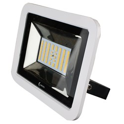 Lunasea 35W Slimline LED Floodlight, 120/240VAC Only, Cool White, 4500 Lumens, 3' Cord - White Housing